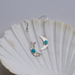 Crescent Moon Turquoise Earrings