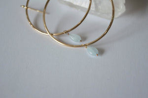 Gold Hoop Earrings with Aquamarine