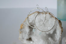 Sterling Silver Hoop Earrings with Aquamarine