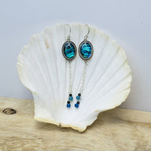 Blue Abalone Dangle Earrings