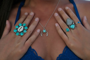 Turquoise and Cowrie Shell Cluster Ring
