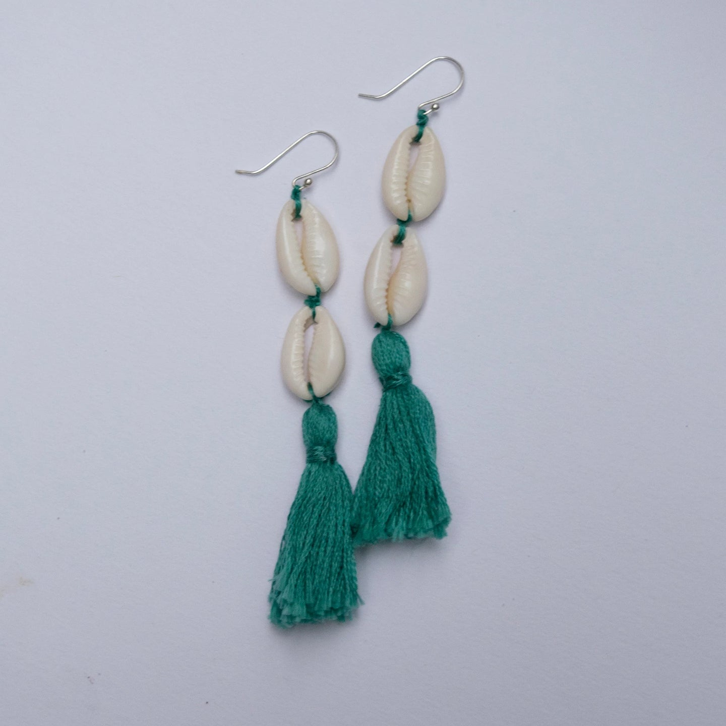 Calypso Double Cowrie Tassel Earrings