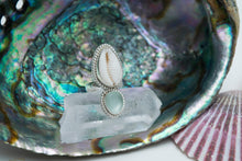 Cowrie Shell and Sea Glass Ring