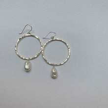 Pearl Hoops: Sterling Silver