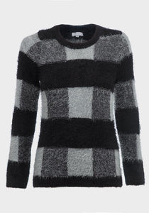 Ladies check fluffy jumper
