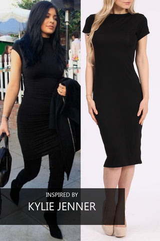 Basic midi bodycon dress black