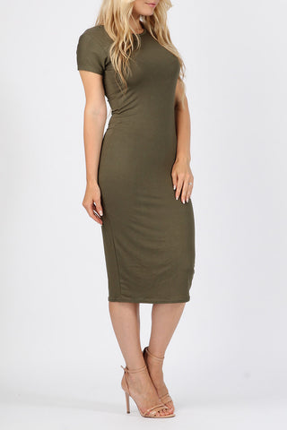 Basic midi bodycon dress khaki