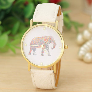 Woman's Watch Elephant Printing Pattern Weaved Leather