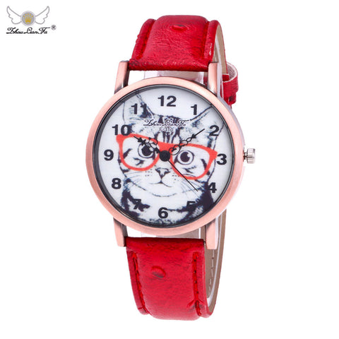 Cute Cat Leather Band Watch
