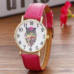 Ladies Owl Leather Strap Watch