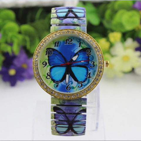 Butterfly Pattern Casual Quartz Watch, Stretch Watch