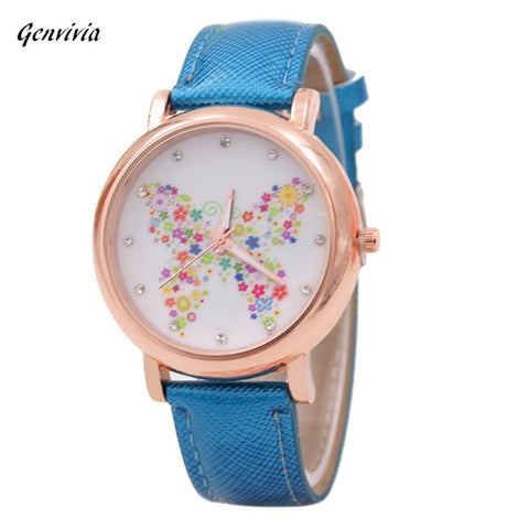 Ladies Watch Butterfly Pattern, Leather Band