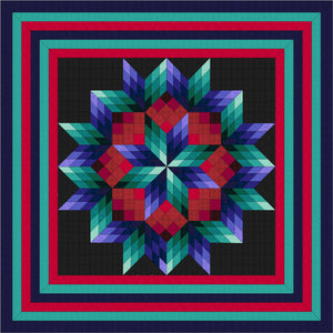 Hand Quilted Broken Star I Quilt Queen/King