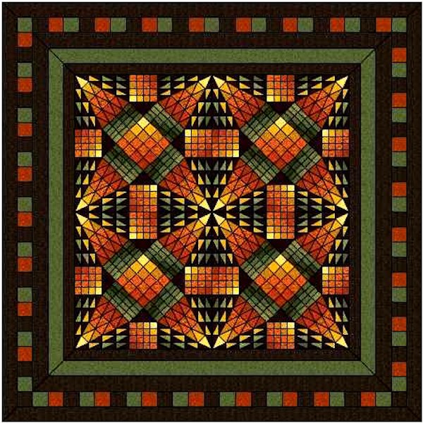Hand Quilted Dakota Autumn Queen/King Quilt