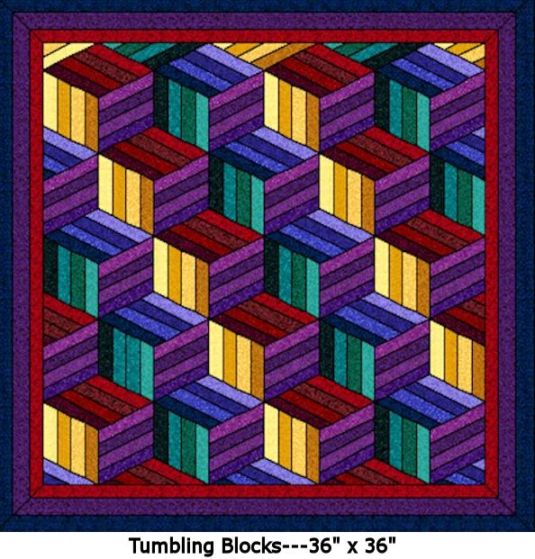 Tumbling Blocks Digital Quilt Patterns
