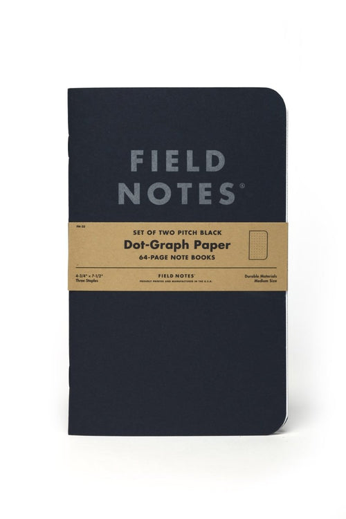 2 Pack - Field Notes Pitch Black Notebook - Dot-Graph Paper - GAMETEEUK
