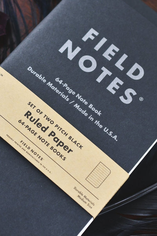2 Pack - Field Notes Pitch Black Notebook - Ruled Paper - GAMETEEUK