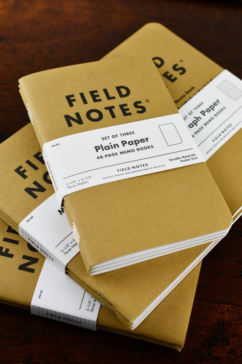 3-Pack Field Notes Original Kraft Memo Books - Ruled, Graphed, Plain or Mixed - GAMETEEUK