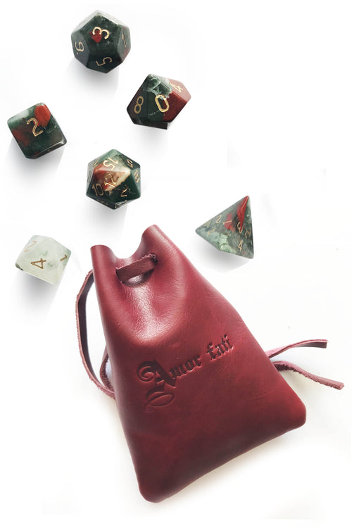 Blood Red Leather Dice Pouch