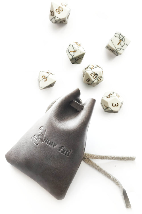 Grey Leather Dice Pouch