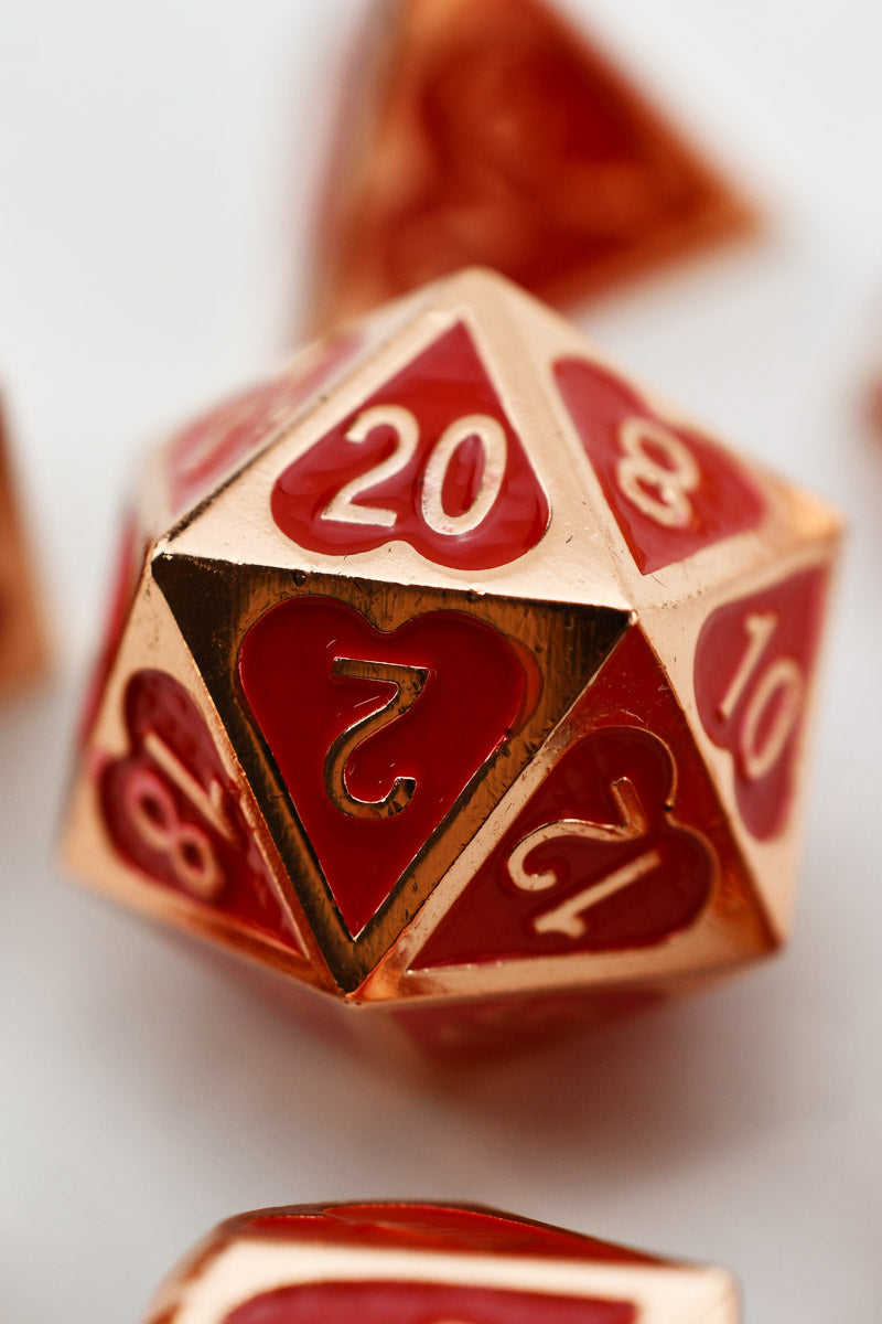 Heart's Desire - Rose Gold - Metal Dice Set