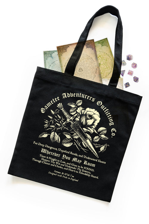 Black Tote Bag with Rose and Dagger Design