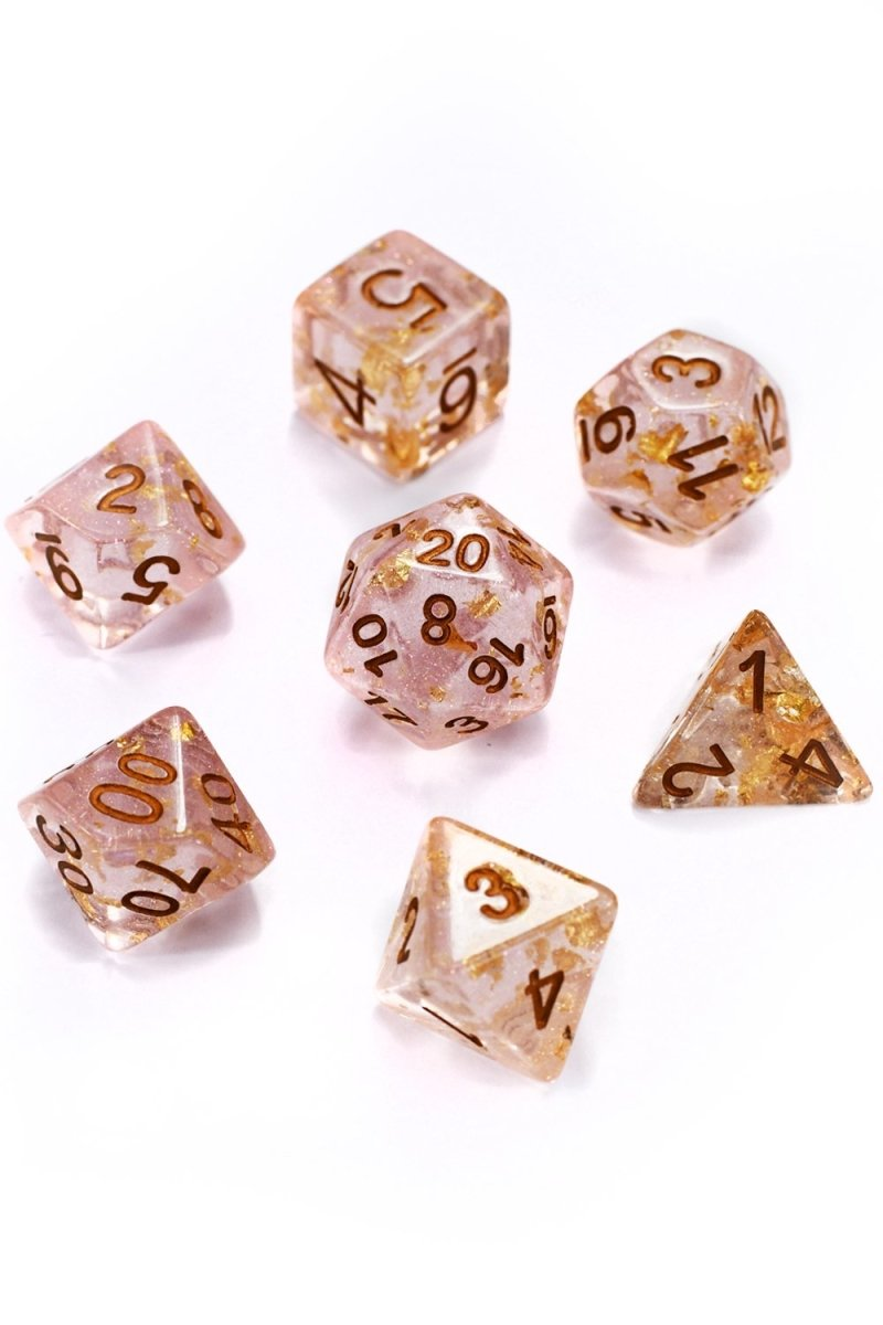 Alchemist 24k Gold Flake - Acrylic Dice Set - GAMETEEUK