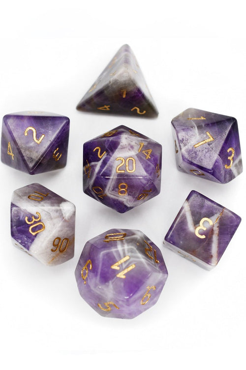 Amethyst Gemstone Dice Set - GAMETEEUK
