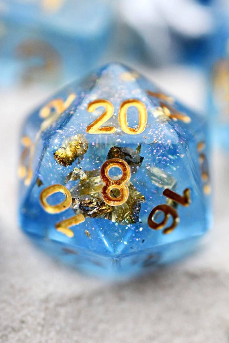 Astronomy - 24k Gold Flake Acrylic Dice Set - GAMETEEUK