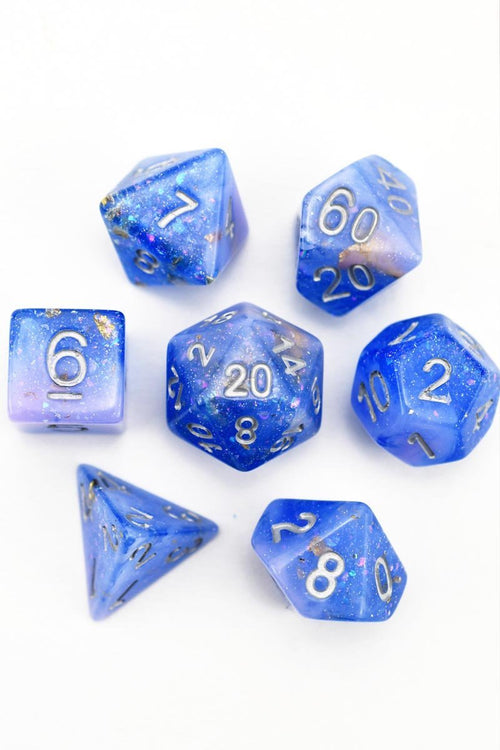 Atlantis - Gold and Holographic Flake Acrylic Dice Set - GAMETEEUK