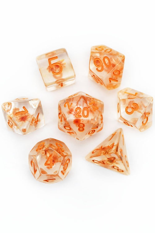 Autumn Bloom - Real Flowers Acrylic Dice Set - GAMETEEUK