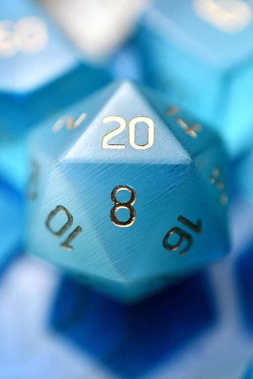 Azure Blue Cat's Eye - Gemstone Dice Set - GAMETEEUK