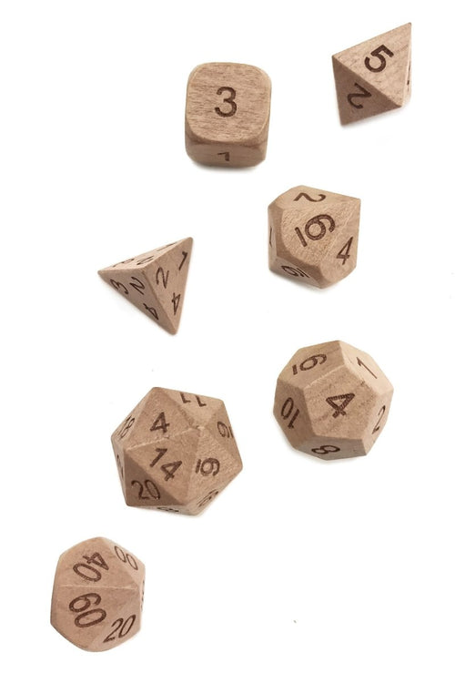 Black Cherry Heartwood Wooden Dice Set - GAMETEEUK
