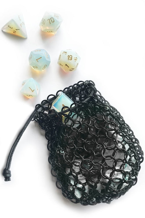 Black Stainless Steel Chainmail Dice Bag - GAMETEEUK