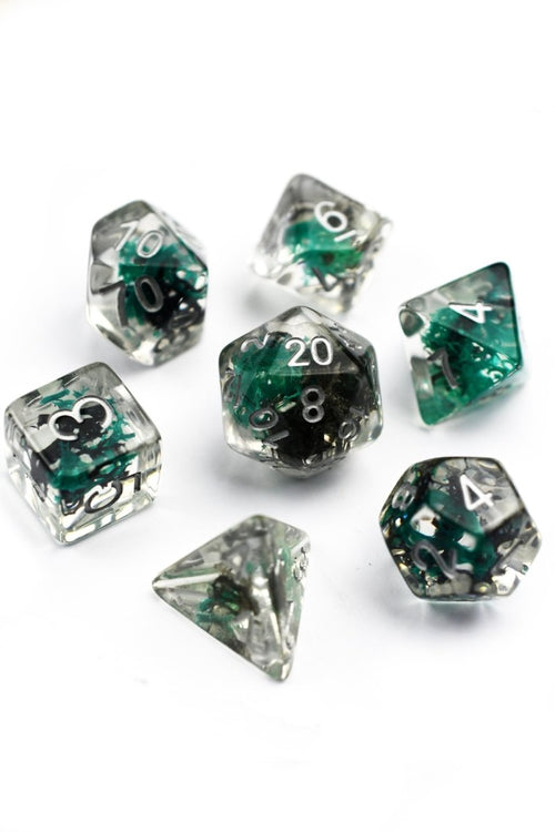 Blackroot Spring with Real Moss - Acrylic Dice Set - GAMETEEUK