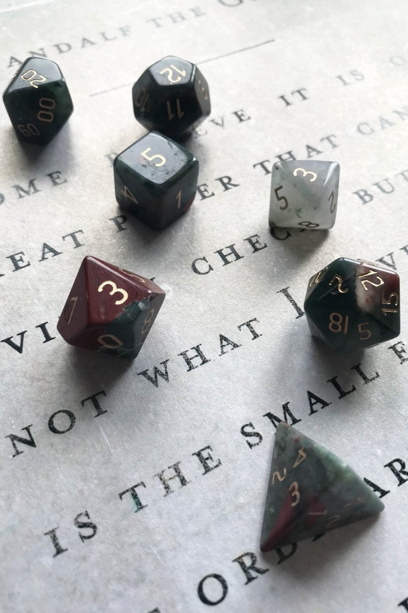 Bloodstone Gemstone Dice Set - GAMETEEUK