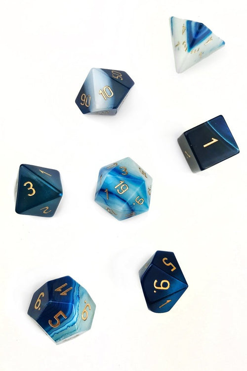 Blue Agate Gemstone Dice Set - GAMETEEUK