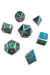Blue Prismatic Rainbow Metal Dice Set - GAMETEEUK