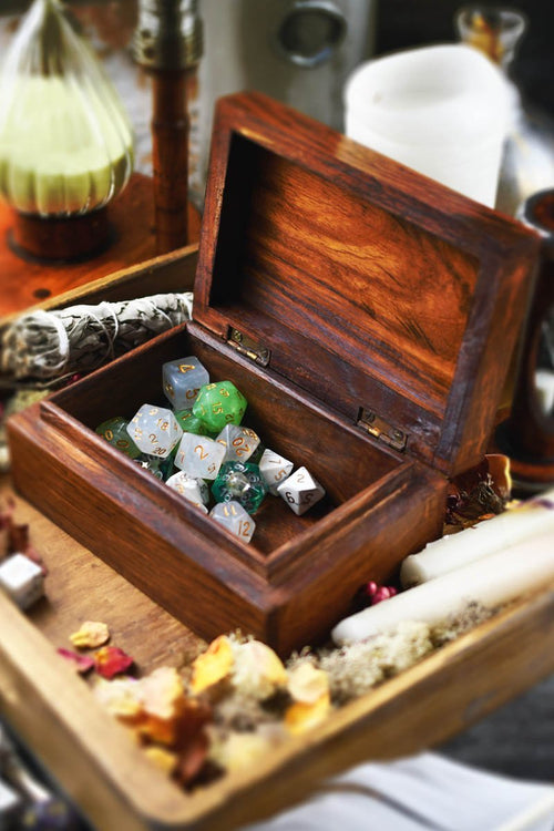 Box of Stories Untold - Handmade Dice and Accessory Box - GAMETEEUK