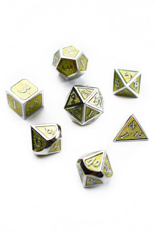 Blue Prismatic Rainbow Metal Dice Set
