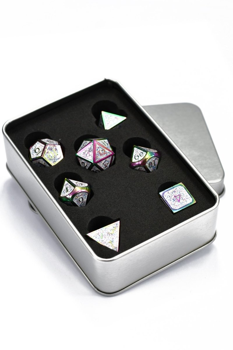 Chromatic Luminous Rainbow Metal Dice Set - GAMETEEUK
