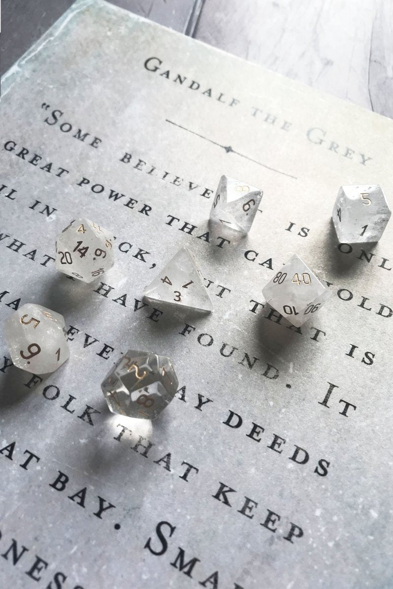 Clear Quartz Gemstone Dice Set - GAMETEEUK