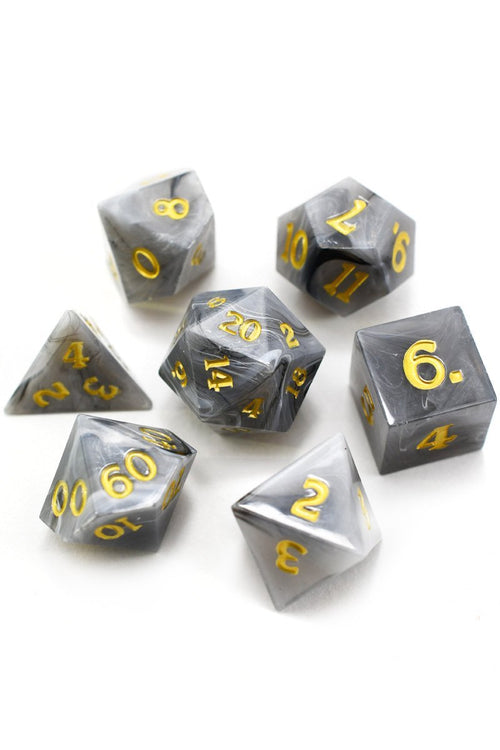 Cloak of Mists - Sharp-Edged Acrylic Dice Set - GAMETEEUK