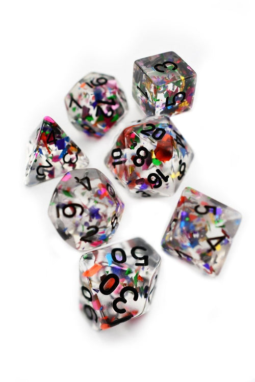 Confetti Party - Acrylic Dice Set - GAMETEEUK