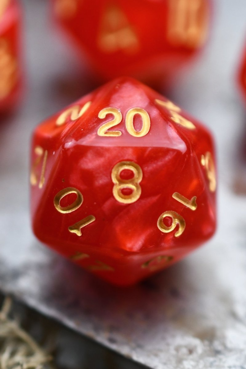 Conjuration - Ruby Lustre-Sheen Acrylic Dice Set - GAMETEEUK