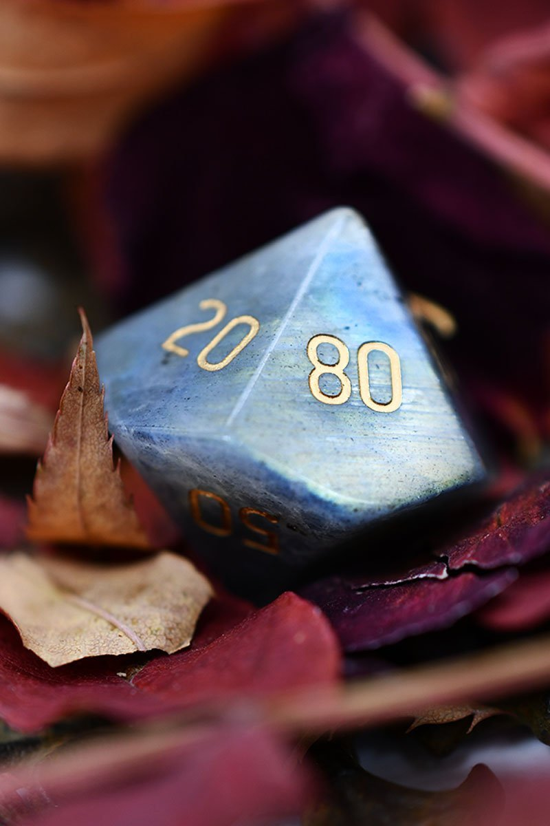 Dark Labradorite Gemstone Dice Set - GAMETEEUK