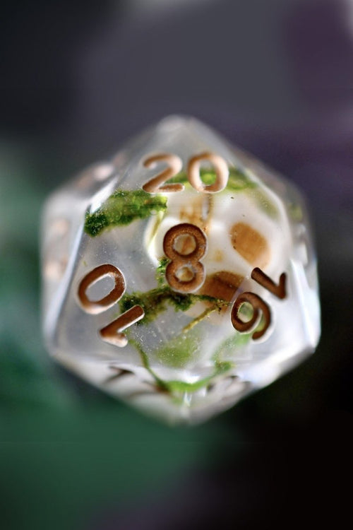 Dead Men Tell No Tales - Skulls and Real Moss - Acrylic Dice Set - GAMETEEUK