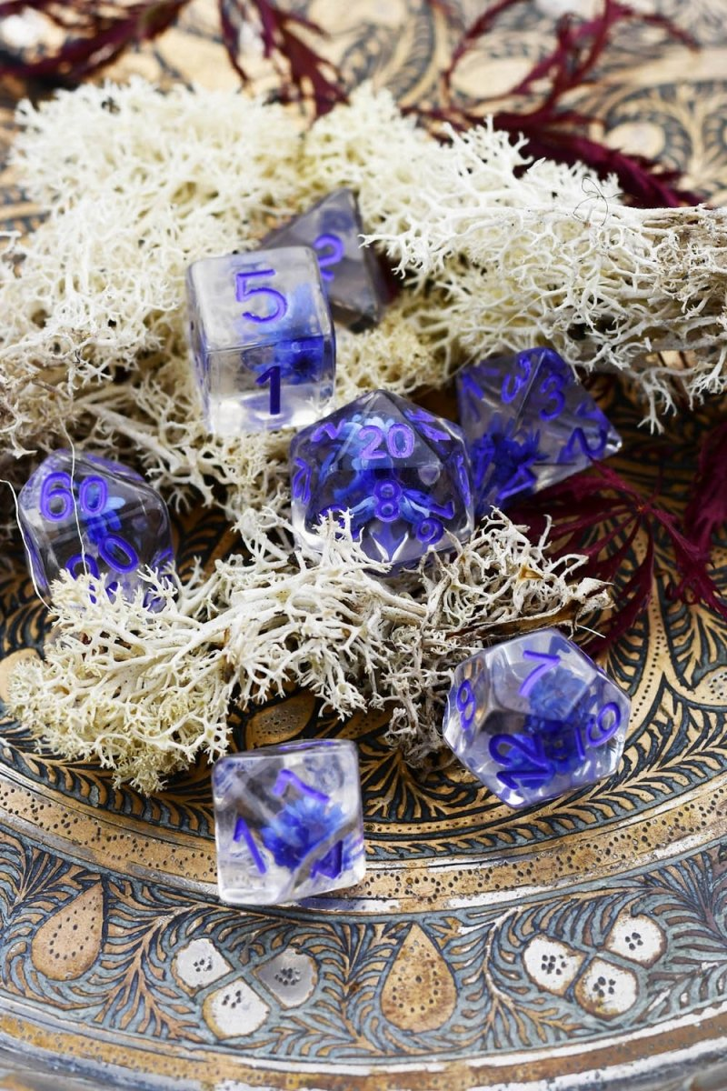 Death Bloom with Real Flowers - Acrylic Dice Set - GAMETEEUK