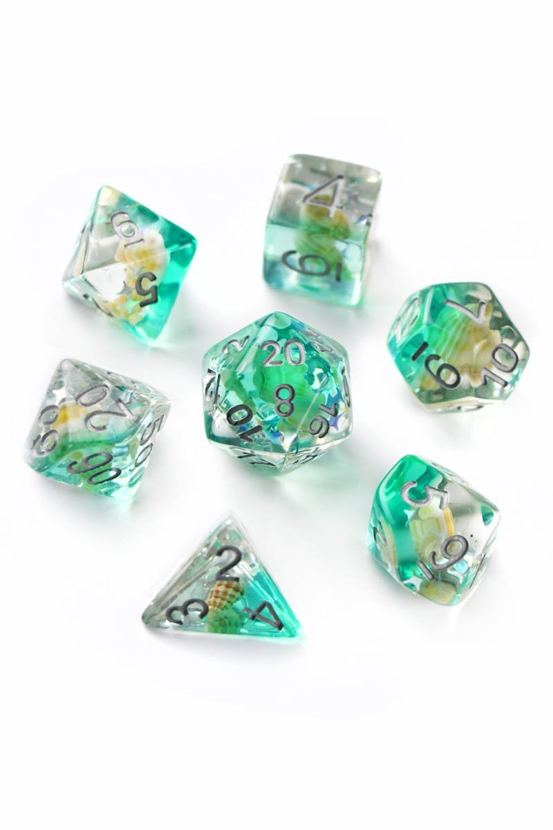 Distant Shores - Real Shells Acrylic Dice Set - GAMETEEUK