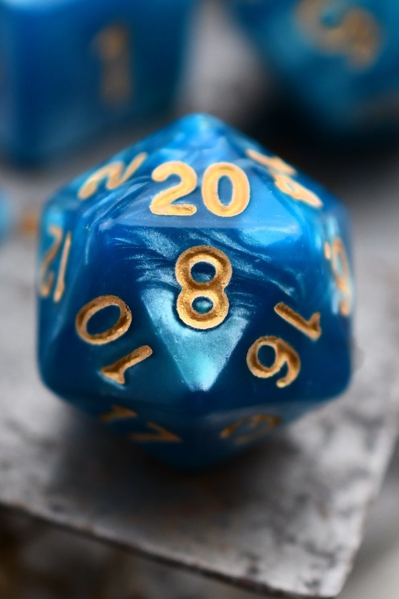Divination - Ice-Sapphire Lustre-Sheen Acrylic Dice Set - GAMETEEUK